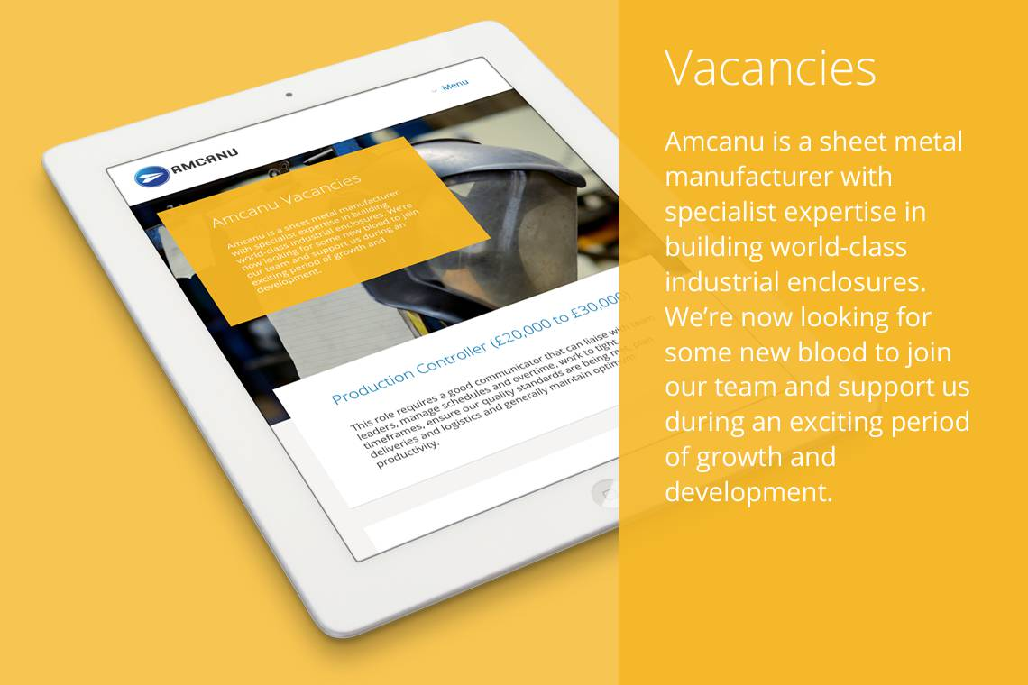 Amcanu website on tablet device