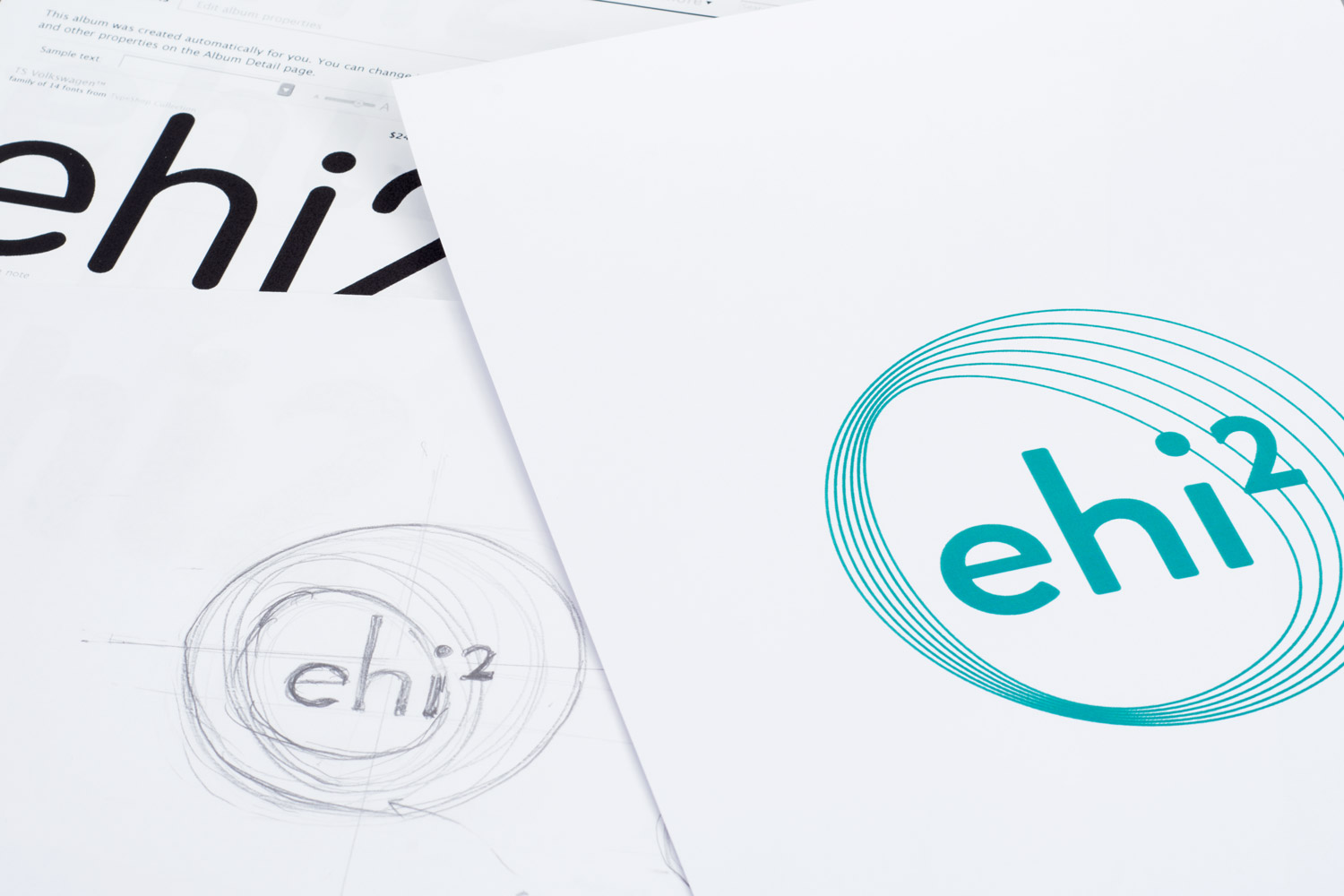 Sketches of the ehi2 logo designs