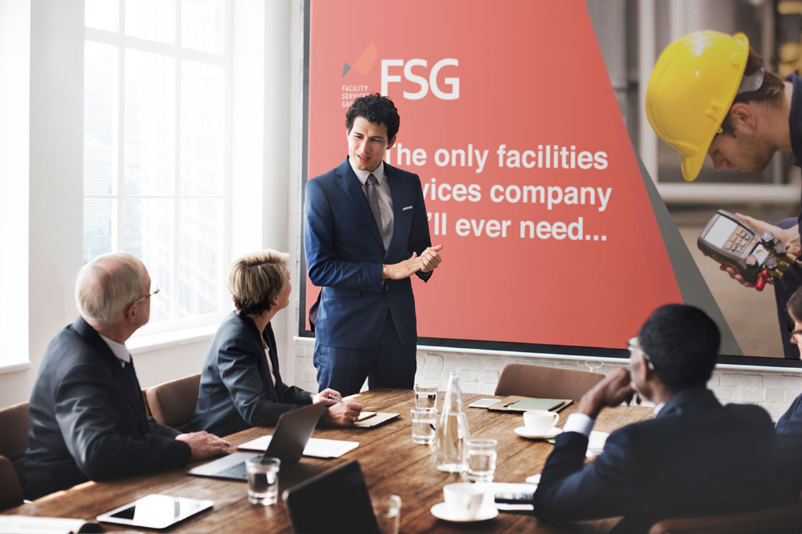 Presentation with FSG branded slides on show in the background