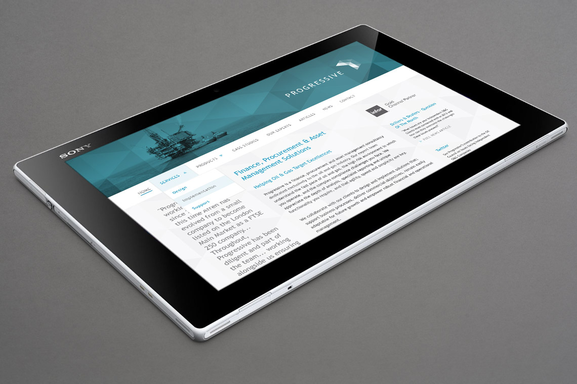 Progressive website displayed on tablet device