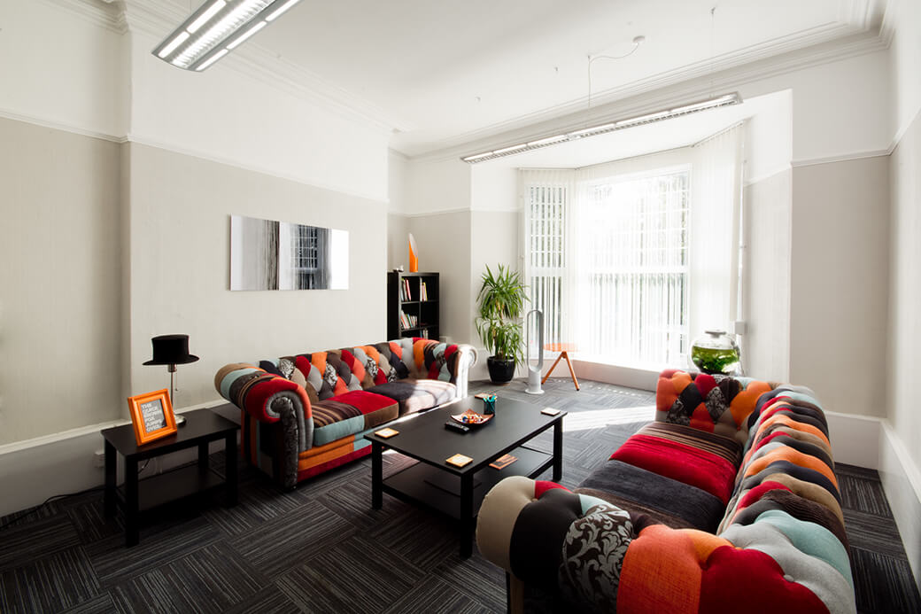 Interior shot of the James Good office lounge