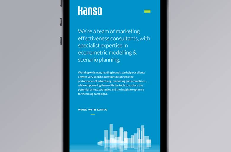 Kanso website on mobile device