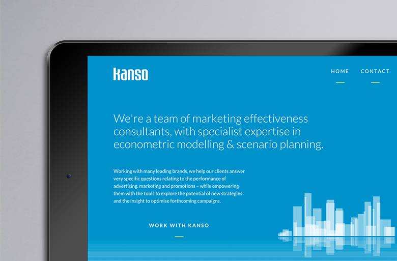 Kanso website on tablet device