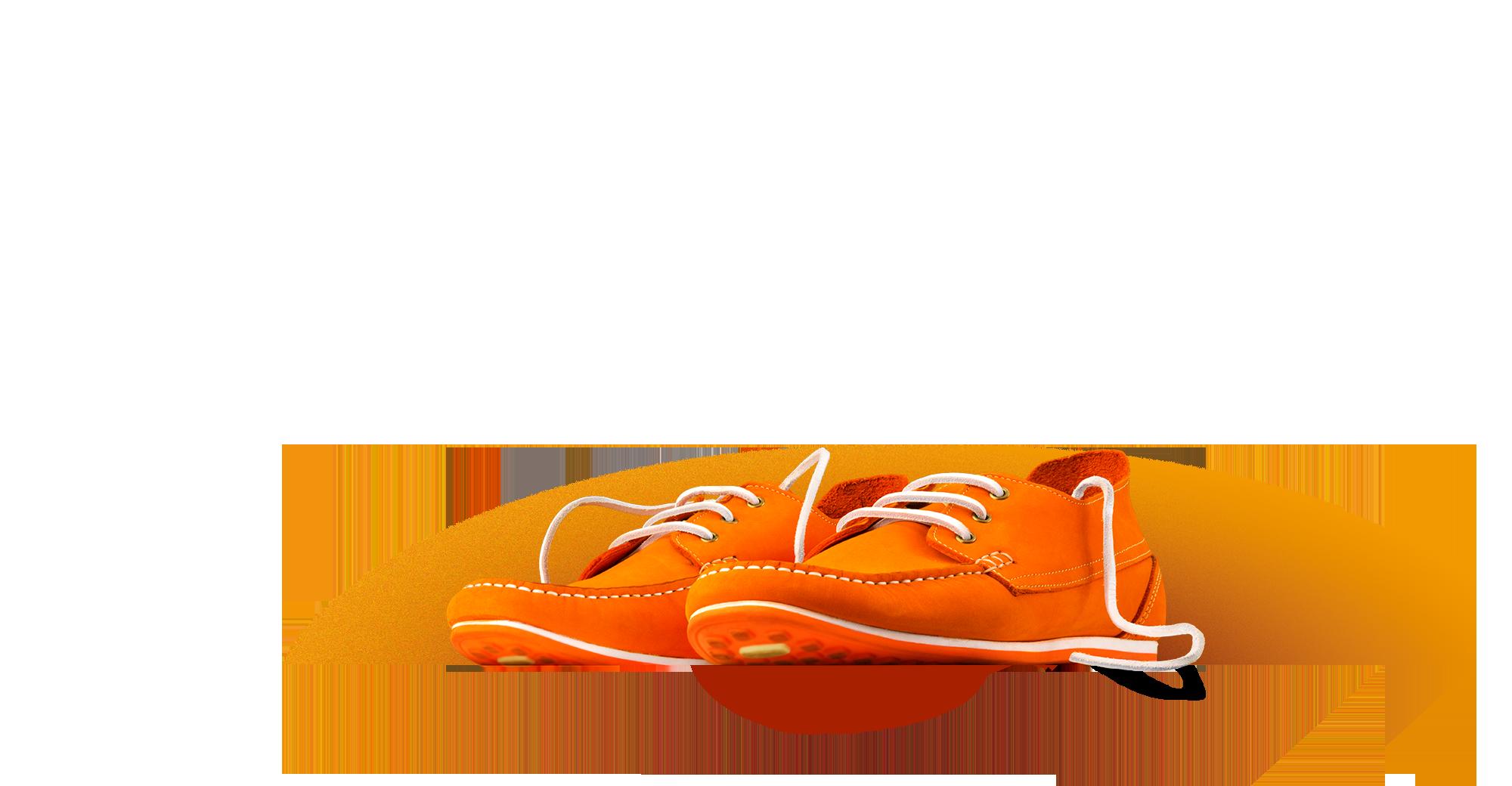 Orange shoes to represent brand identity.