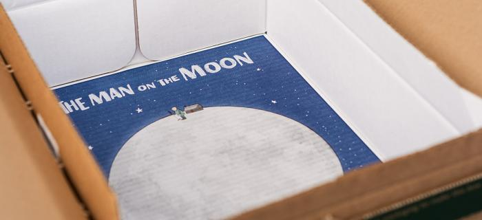 John Lewis' Man on the Moon campaign design inside their boxes