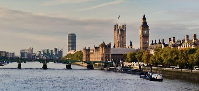 A view of Westminster and Big Ben from the Thames in London