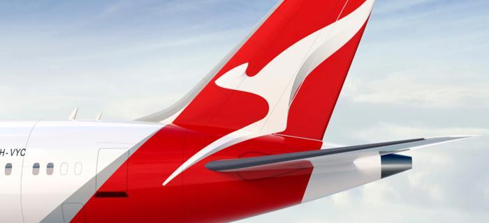 The Qantas logo evolving over time.