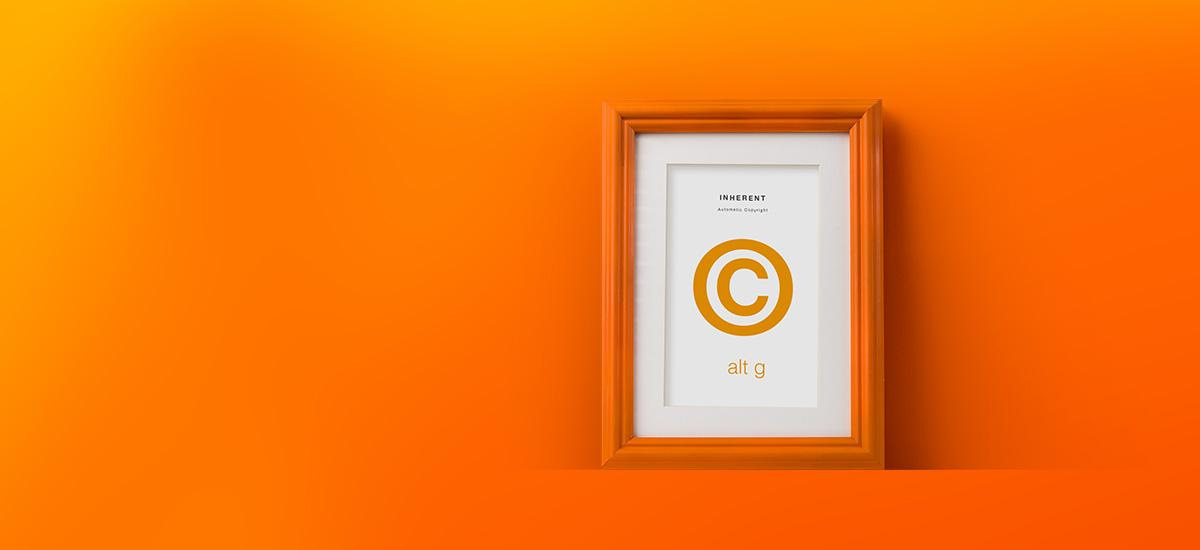 Copyright symbol in an orange picture frame.