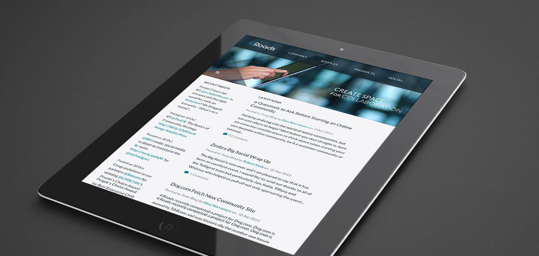 4 Roads website on tablet device