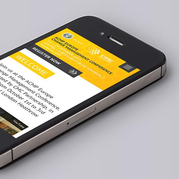 Mobile device showing ACMP Europe Conference website