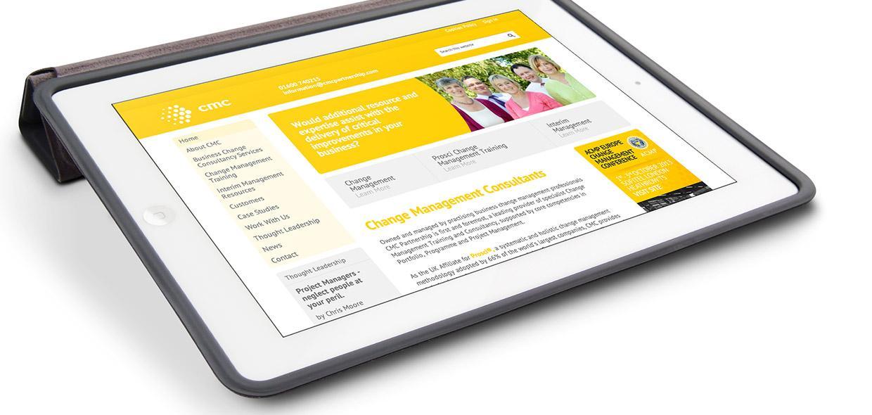 CMC Partnership website on tablet device