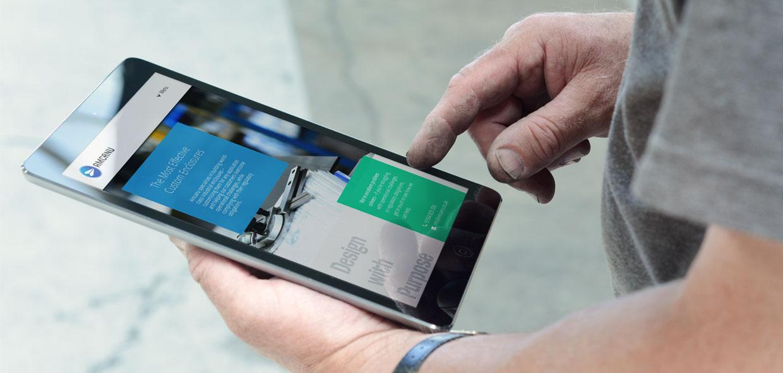 Tablet device showing Amcanu website