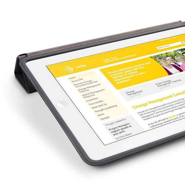 CMC Partnership website on tablet device