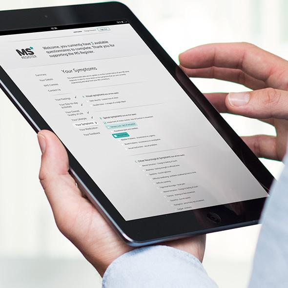 MS Register website on tablet device