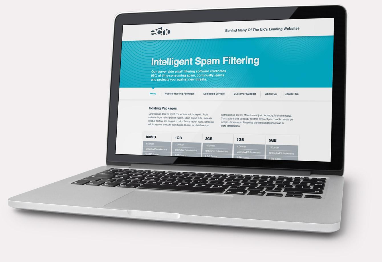 Echo website displayed on laptop